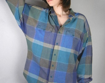 Vintage blue plaid shirt by Pier Connection 1980s blues teal gray of rayon & cotton with dolman sleeve womens size L // oversized shirt