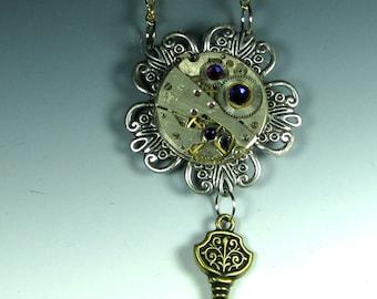 silver Tick-Tock Flower Steampunk Necklace , steampunk flower, steampunk pendant. steampunk key