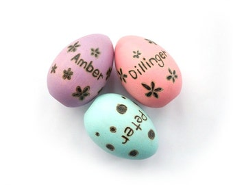Personalized Colored Egg - Wooden Painted Eggs - Wooden Toys - Eco Friendly - Montessori Wooden Eggs - Waldorf Toys