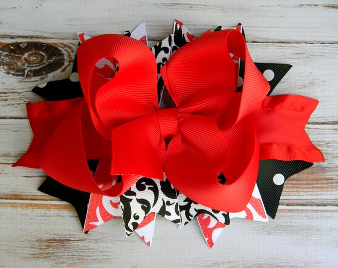 Red, Black, Hair bows for girls, Headbands, Boutique Hair Bow, Stacked hair bow, Glitter, Damask, Hair bows, Girls, Toddlers, Big hair bows