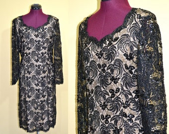 1970s Vintage Black Lace, Sequin and Bead Evening Dress - size M L bust 38