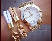 Arm candy set of 2 Half and Half: Gold chunky chain and Silk stacking Bracelet