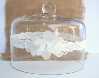 Wedding Garter, Bridal Garter, Ivory Lace Garter, Keepsake Garter, Baby baptism, Christening, Rustic, Vintage, country