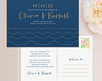 Ocean Wave Save The Date Postcard Magnet Flat Card