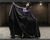 Very Large Black High-Low Skirt, Mullet, Soft Taffeta, Handkerchief Skirt, Cynt D B
