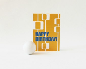 Retro Birthday Card, Orange Blue and White Mid Century Modern Card, Happy Birthday Card - 108C