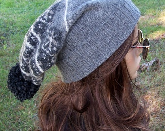 PURE WOOL BEANIE Pom Pom Beanie Grey Elf Hat Fair Isle Recycled Sweater Hat Slouch Beanie Adult Handmade Upcycled unisex gnome Bohemian hat
