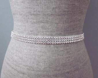3 Row Silver Rhinestone Wedding Sash / Belt, Simple Bridesmaid Sash