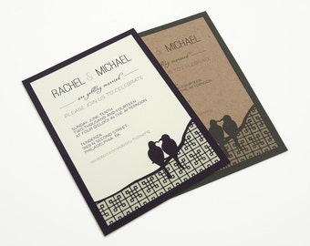 NEW! Papercut Wedding Invitations - True Love Birds - Eco-conscious - SAMPLE