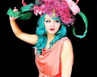 Melodrama,colorful,Avant Garde,headpiece,Paper,hat,High fashion,LARGE,headpiece,headdress,