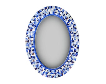 Mosaic Mirror | Blue and White | Oval Wall Mirror | Wall Decor