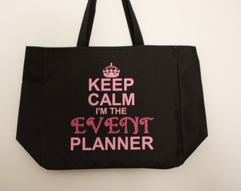 Event Planner Gift Keep Calm I'm the Event Planner tote bag with glitter #1 hp7