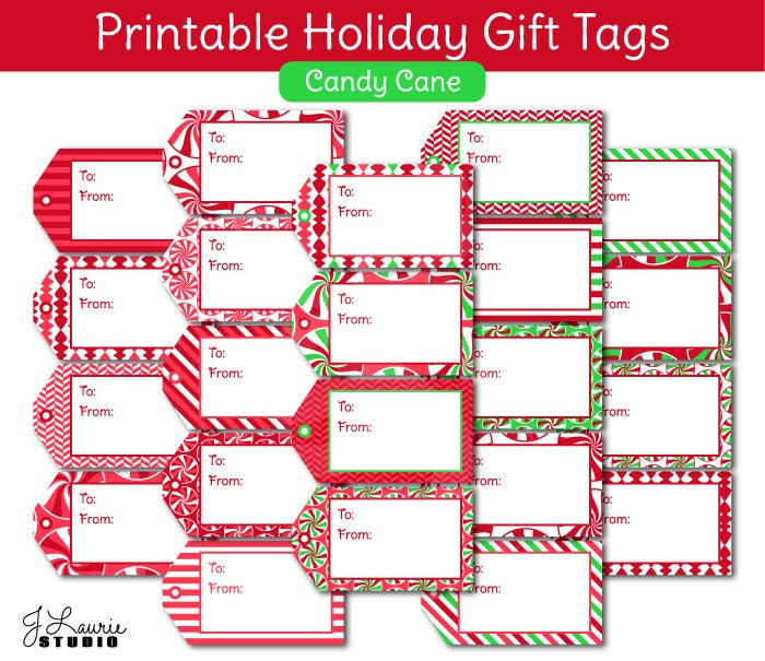 Digital Clipart-Printable Gift Tags-Holiday-Candy