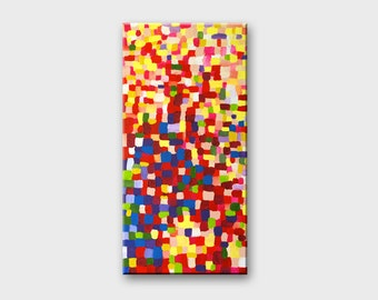 Modern abstract art Mosaic paintings Abstract mosaic wall art Colorful dots modern painting on canvas Acrylic canvas art