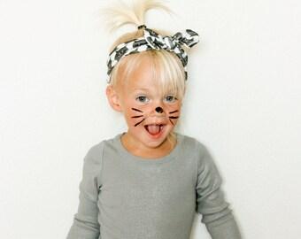 Black Cat Top Knot Headband - Halloween Headband - Baby to Adult Headband