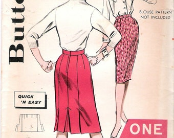 """Vintage 1963 Butterick 9478 Quick N Easy Skirt Sewing Pattern One Yard Line Size Waist 23 1/2"""""""