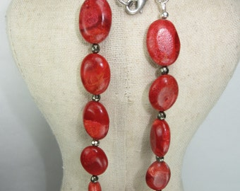 Pyrite and Coral Bright necklace, Chunky coral necklace, coral jewelry, Pyrite and Coral, Fools gold Antique silver necklace
