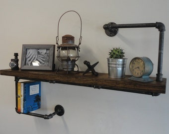 "Industrial Black Pipe Shelf the ""Hanger Thick"""