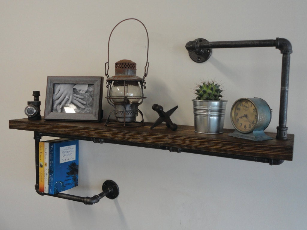 Industrial black pipe shelf the hanger thick by mobeedesigns for Decoration murale industrielle