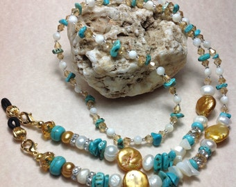 Free Shipping - Romantic Love -  Eyeglass Necklaces/Pearl Eyeglsss Chains/Turquoise Lanyards/Turquoise Eyeglass Holders