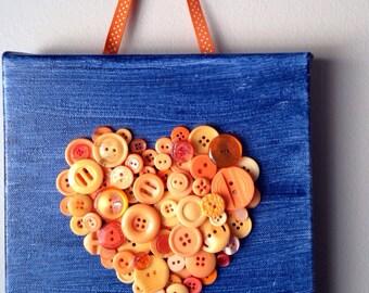 Handmade button mosaic heart, button heart, button art