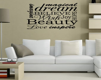 Imagine Magical Dream Hope Vinyl Wall Quotes Lettering (JR252)