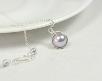 Lavender Pearl Necklace Wire Wrapped Jewelry Handmade Sterling Silver Jewelry Handmade Swarovski Pearl Necklace Pearl Solitaire Necklace