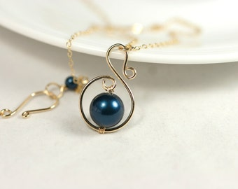 Gold Dark Blue Pearl Necklace Wire Wrapped Jewelry Handmade Gold Necklace Gold Jewelry Metallic Blue Necklace Navy Blue Necklace