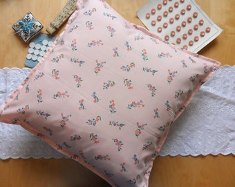 Vintage French Pink Floral Fabric Cushion Cover