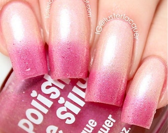Blushing From Ear To Ear- -Color Changing Thermal Nail Polish:  Custom-Blended Indie Glitter Nail Polish / Lacquer