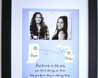 Best Friend Christmas Gift, Any Design Custom Art Friends Are Like Stars Quote Photo Art Best Friends Art Present Picture Xmas Gift