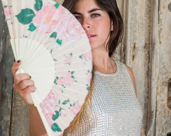 HAND FAN, romantic, floral, eco friendly, bridal accessories, wedding accessories, bridesmaid gift, pink, cotton fabric, wood, Free Shipping