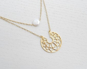 Coin pearl necklace, Gold double strand necklace, Gold filigree necklace