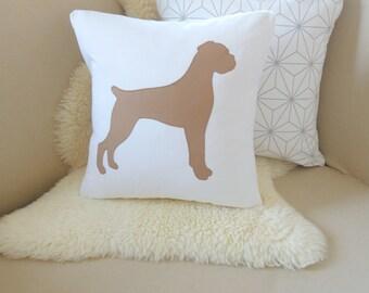 Boxer Pillow Cover - Natural Ears - White & Caramel Tan Boxer Appliqué - 18x18