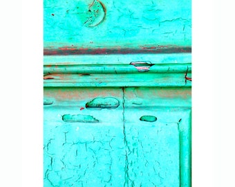 turquoise door- Greece travel photography- bright colored wall decor- shabby chic photo- turquoise wall decoration- island photography