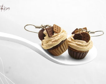 Food Jewelry Chocolate Cupcake Earrings, Miniature Food, Food Jewelry, Polymer Clay Earrings, Cupcake Jewelry, Kawaii Jewelry, Foodie Gift