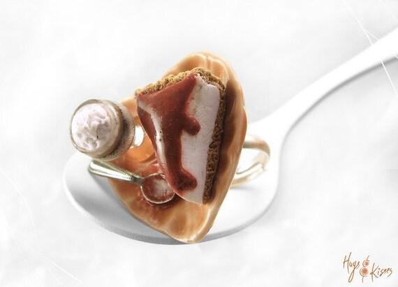 Scented Cheesecake Ring, Irish Coffee Ring, Mini Food Jewelry, Polymer Clay Ring, Foodie Gift, Valentine gift, Kawaii Jewelry, Dessert Ring