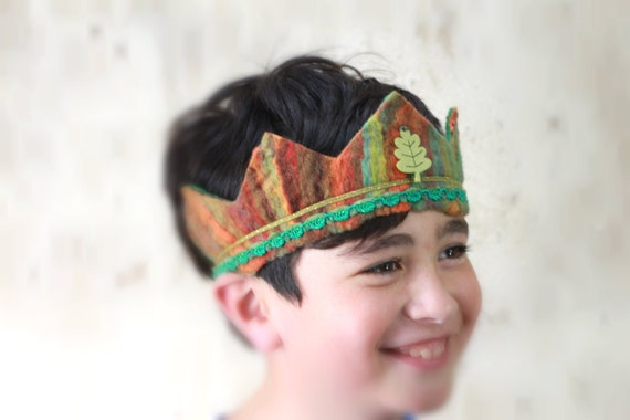 Woodland Prince, Waldorf Crown, Birthday Crown, Felt,Wool, Hand Felted, Boy,Girl,Princess, Prince, Queen, King,Green, Gift,Traditional
