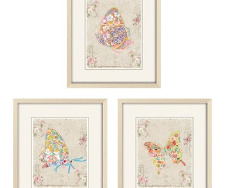 shabby chic art Butterfly Prints, butterfly wall art, shabby chic nursery decor, baby nursery art, nursery wall art butterfly nursery prints