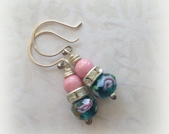 Floral Ear Candy - Vintage Pink Glass Teal Green Beads, Upcycled, Handmade, Bride, Wedding Jewelry by WinterPearlsDesigns