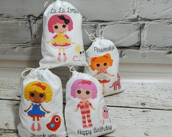 """Birthday Party Favor Bags La la loopsy dolls for Treat's or gift's Can be personalized 5"""" X 7"""" or 6"""" X 8"""" Qty 8"""