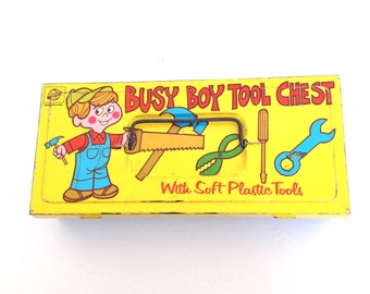Vintage Ohio Art Tin - Tin Litho Box -  Busy Boy Tool Chest - Vintage Tin - 1960 Tin Litho - Tin Box -  Ohio Art