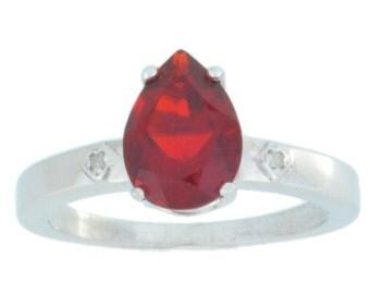 2 Ct Garnet & Diamond Pear Ring .925 Sterling Silver Rhodium Finish