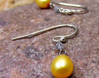 Sunny and Bright Earrings - Artisan Handmade Jewelry, Yellow Pearls, and Swarovski Crystals with Sterling Silver Components