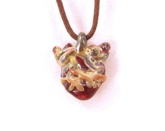 Mini I love you Anatomical Thorny Heart wearable art borosilicate glass pendant on vegan necklace  Free Shipping
