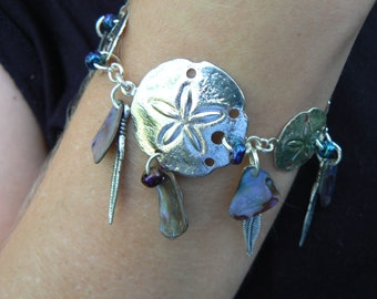 bracelet sand dollar dreamcatcher inspired  abalone shell feathers in beach bohemian tribal gypsy boho hipster tribal  hippie style