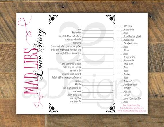 Printable Folding 'Mad Libs Love Story' Wedding By AeDesignsNY