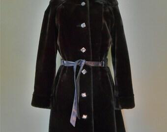 1960s Borg Princess Trench Coat Faux Fur Vinyl Tie Belt Vintage Women's Dark Brown Clothing