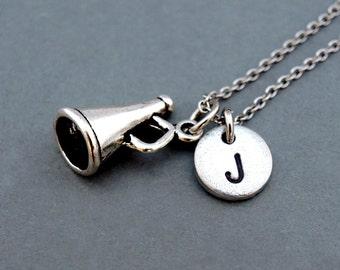 Cheerleader megaphone necklace, cheerleader necklace, silver megaphone, antique silver, initial necklace, personalized, monogram