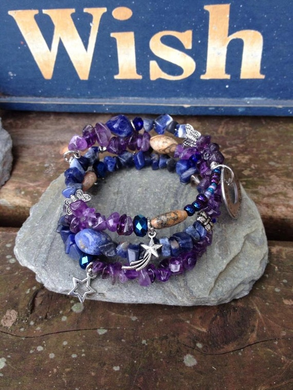 Never stop making wishes three wrap memory wire beaded for The universe conspires jewelry